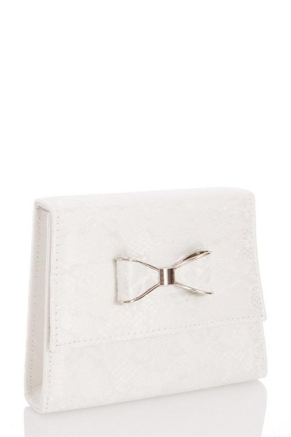White Lace Bow Bag