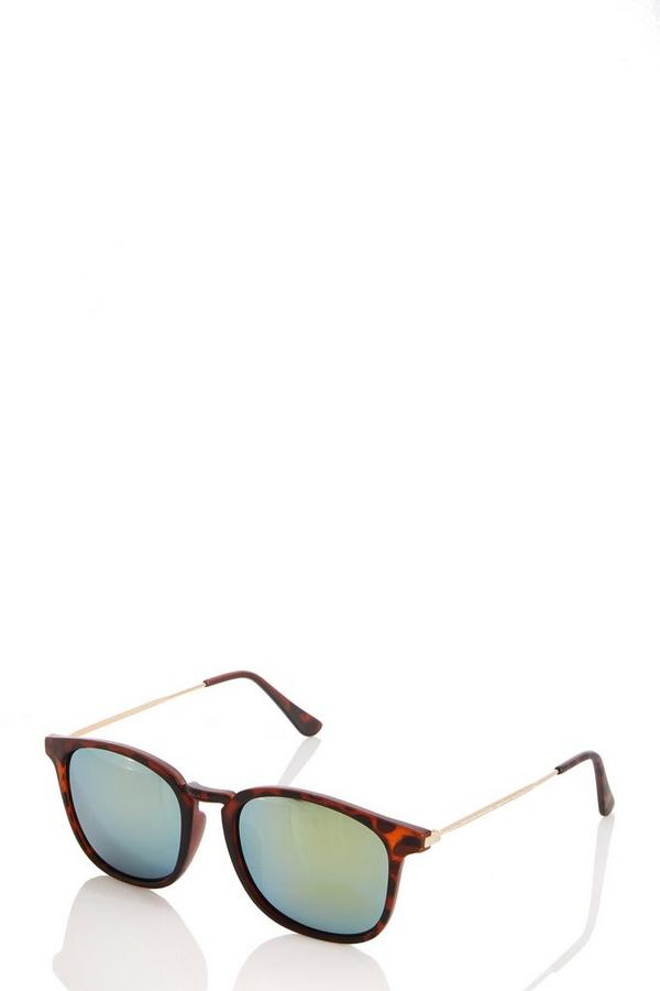 Brown Leopard Print Mirrored Sunglasses