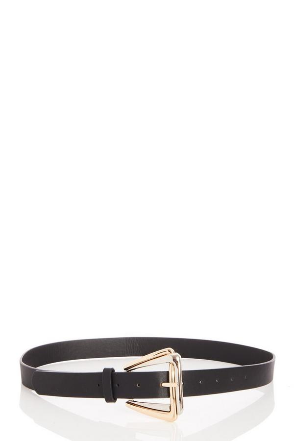 Black Faux Leather Buckle Belt