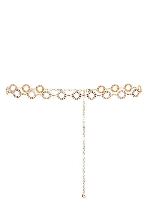 Gold Diamante Circle Belt