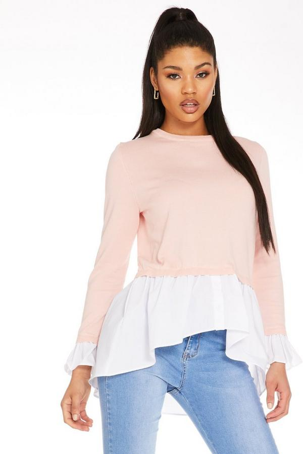 Pink Round Neck Shirt Jumper