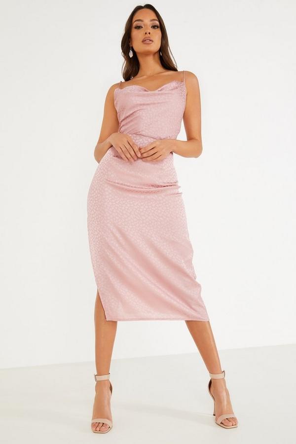 Pink Animal Print Cowl Neck Dress