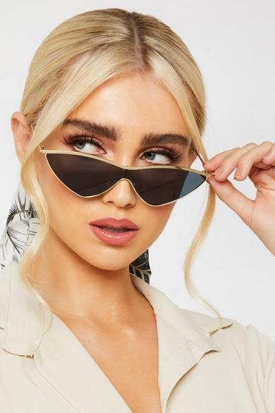 Gold Mirrored Cat Eye Sunglasses