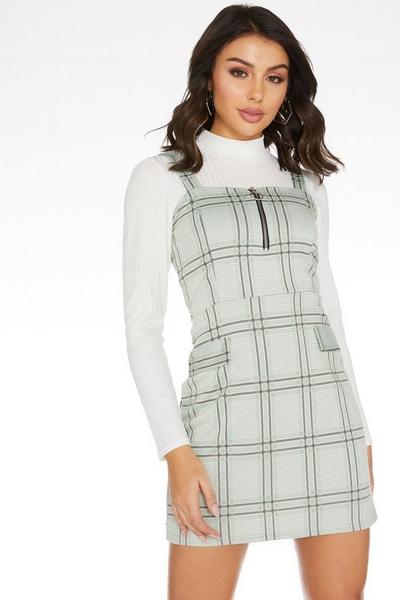 Sage Check Pinafore Dress