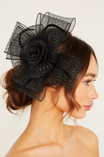 Black Textured Flower Fascinator