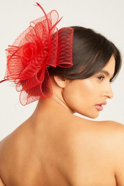 Red Textured Flower Fascinator