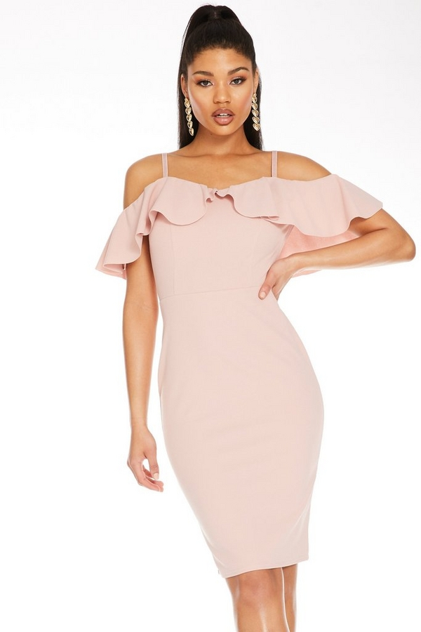 Pink Cold Shoulder Midi Dress