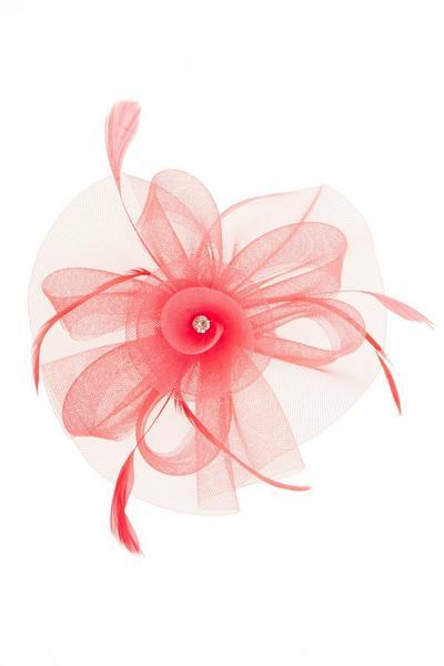 Coral Jewel Flower Fascinator