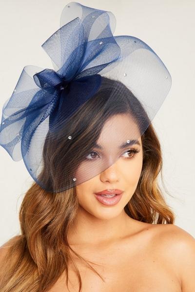 Large Navy Jewel Headband Fascinator