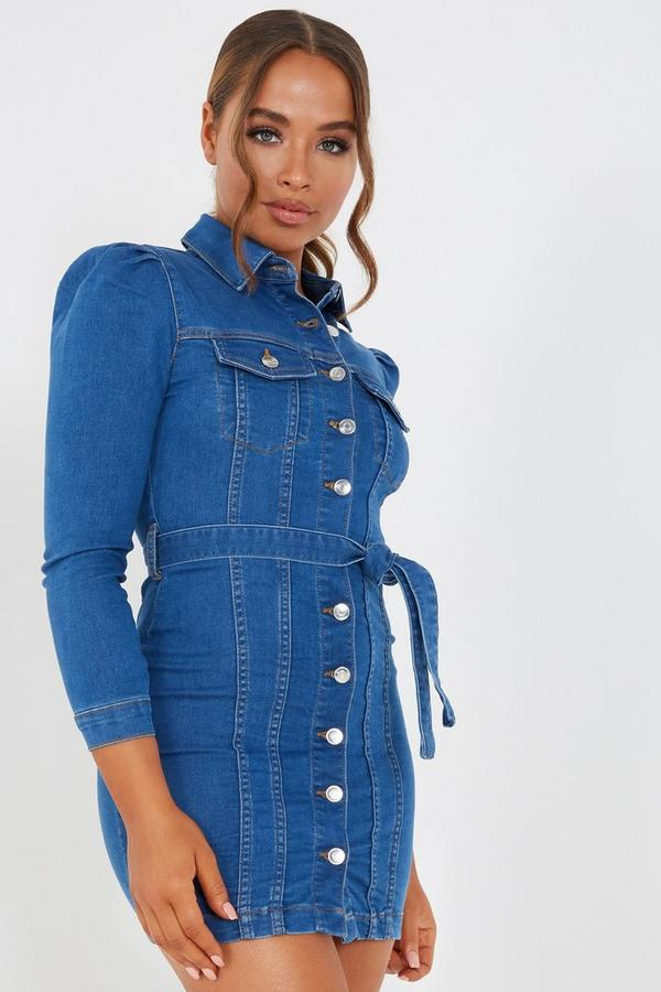 Petite Blue Denim Button Dress
