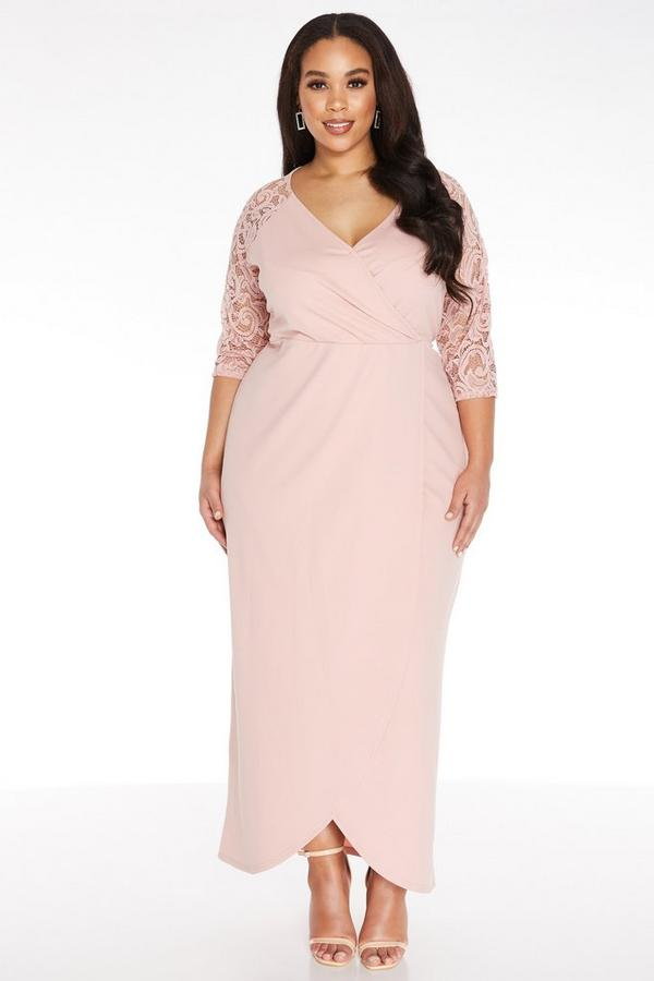Plus Size Pink Wrap Maxi Dress