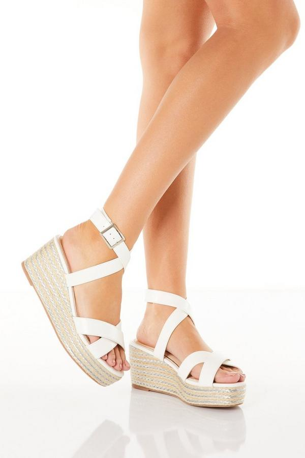 White Woven Wedges