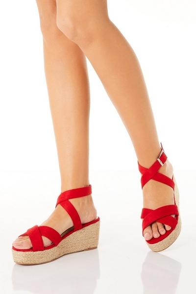 Red Woven Wedges
