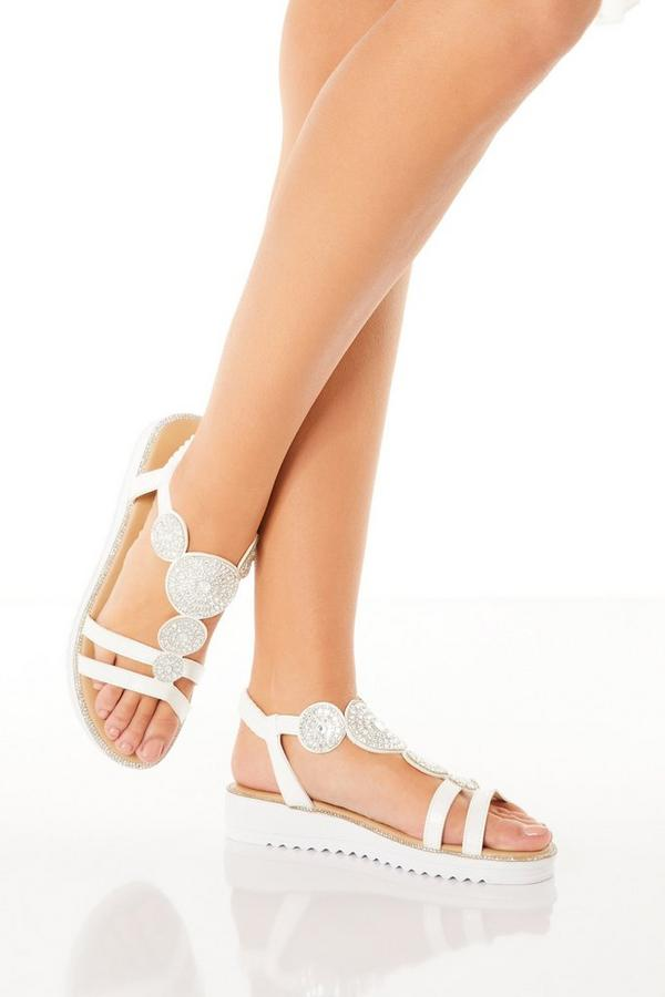 Comfort White Faux Leather Embellished Sandals