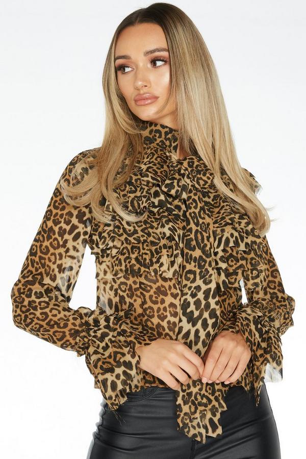 Brown Leopard Print Chiffon Blouse
