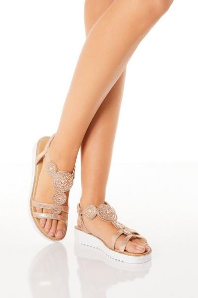 Comfort Rose Gold Embellished Sandals