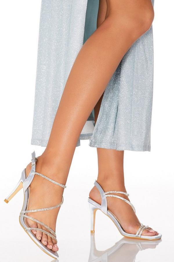 Grey Satin Diamante Strap Heels