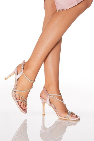 Pink Satin Diamante Strap Heel