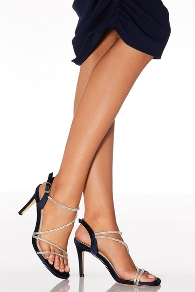 Navy Satin Diamante Strap Heel