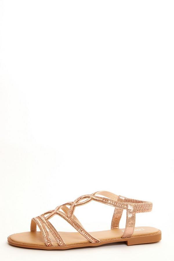 Rose Gold Embellished Flat Sandals