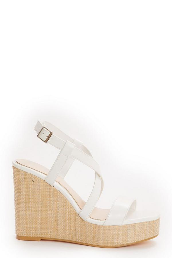 White Faux Leather Cross Strap Wedges