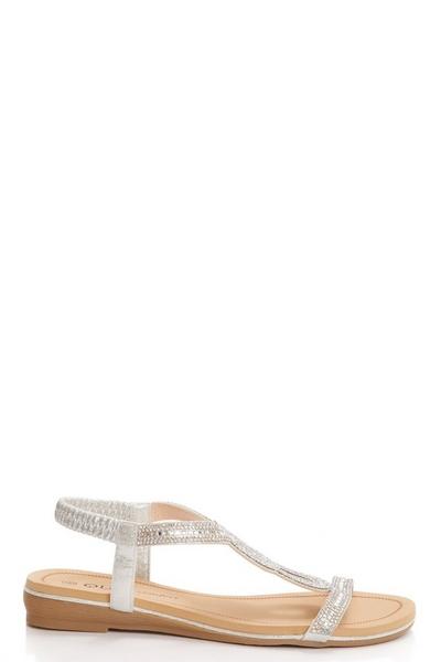 Silver Shimmer Diamante Flat Sandals