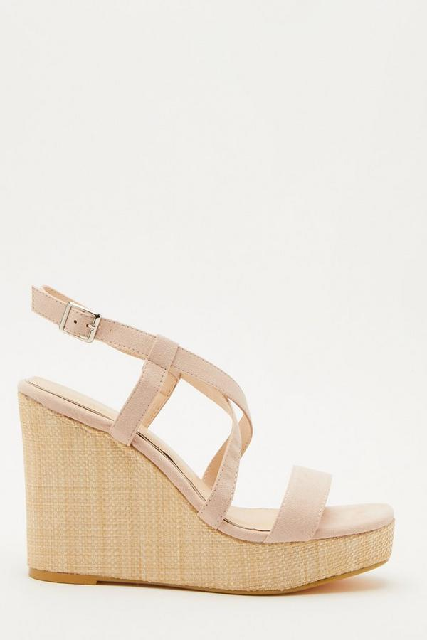 Nude Faux Suede Cross Strap Wedges