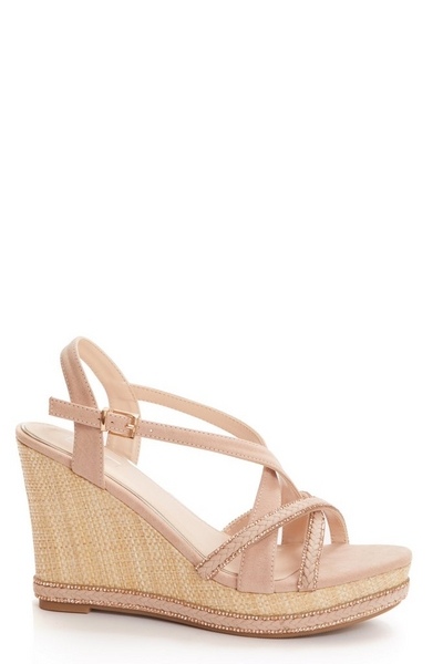 Pink Faux Leather Embellished Wedges