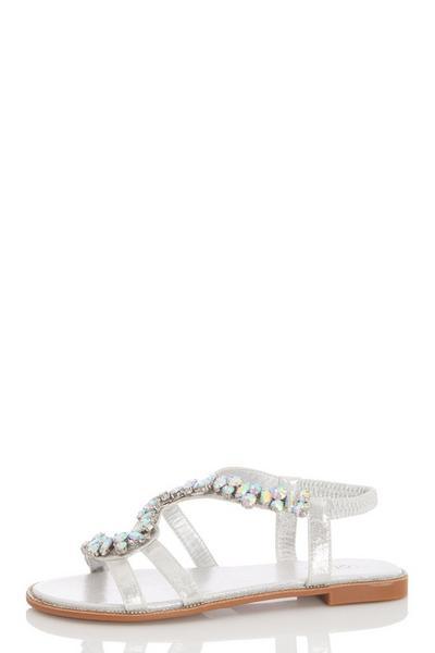 Silver Jewel Strap Flat Sandal