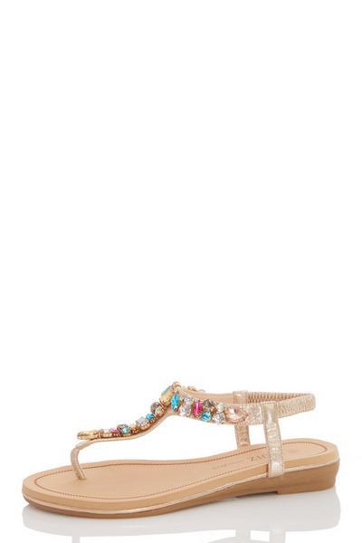 Gold Jewel Flat Sandals