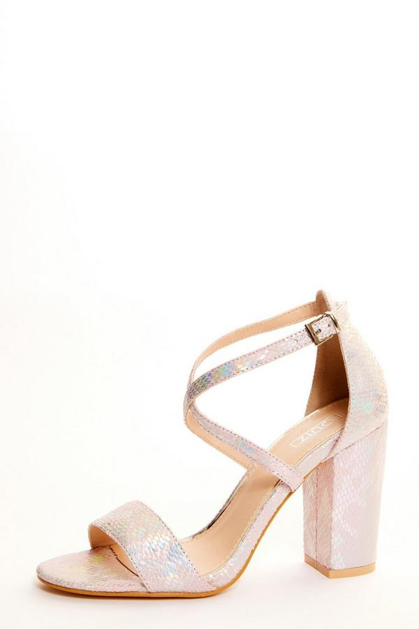 Pink Snake Block Heel