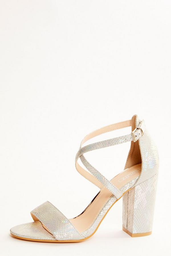 Grey Snake Print Block Heel