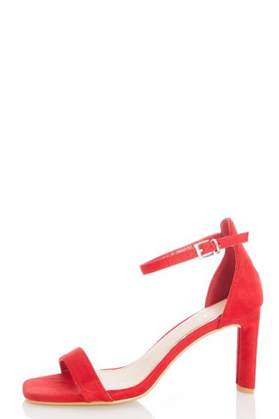 Red Faux Suede Heeled Sandals
