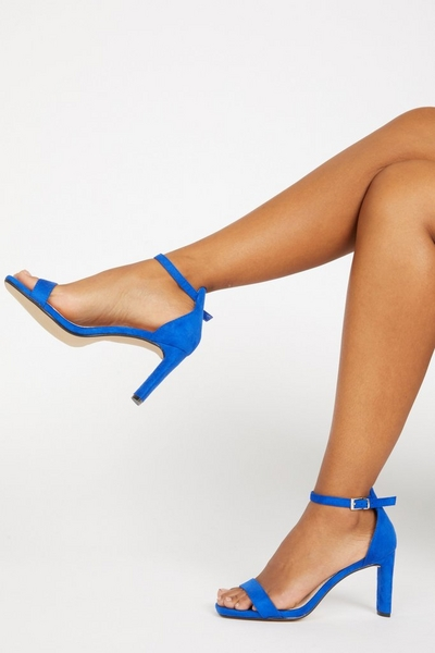 Blue Faux Suede Heeled Sandals