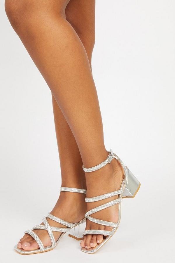 Silver Embellished Heeled Sandals