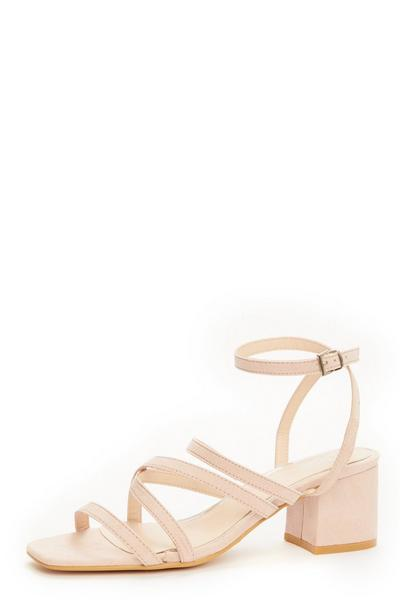 Pink Faux Leather Heeled Sandals
