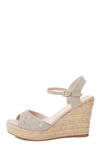 Silver Embellished Wedge Sandals