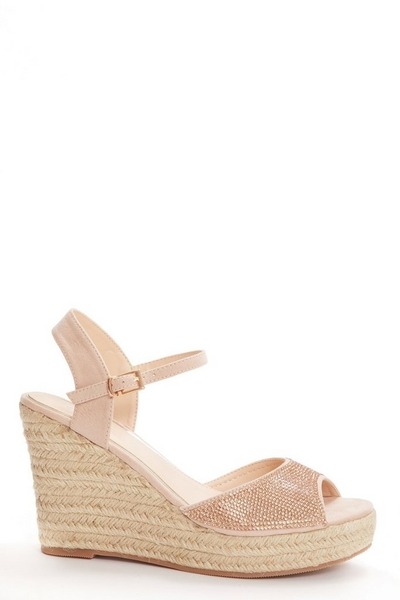 Rose Gold Embellished Wedge Sandals