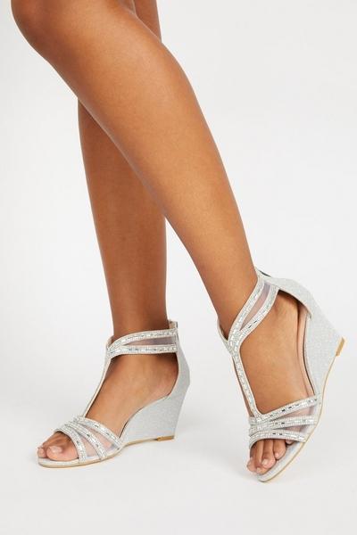 Silver Embellished T Bar Wedge Sandals