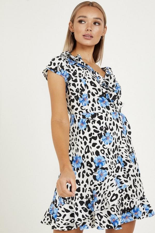 Blue Floral & Animal Print Dress