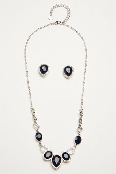 Navy Teardrop Jewellery Set