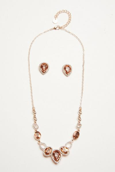 Rose Gold Teardrop Jewellery Set