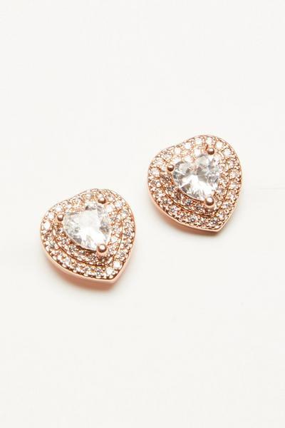 Rose Gold Heart Stud Earring