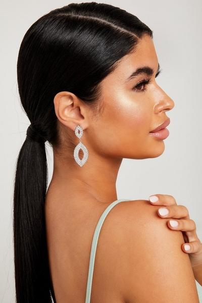 Silver Diamante Leaf Earrings
