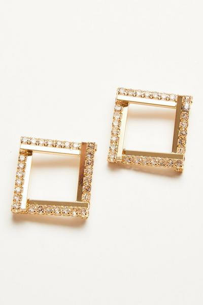 Gold Diamante Square Earrings