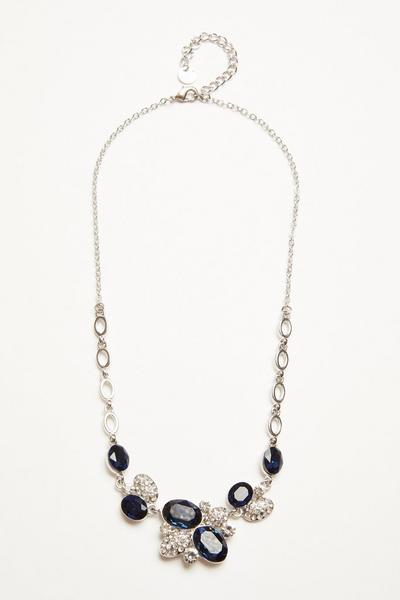 Silver Jewel Cluster Necklace