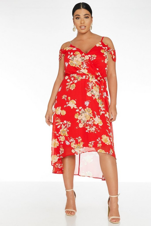 Curve Red Floral Dip Hem Dress