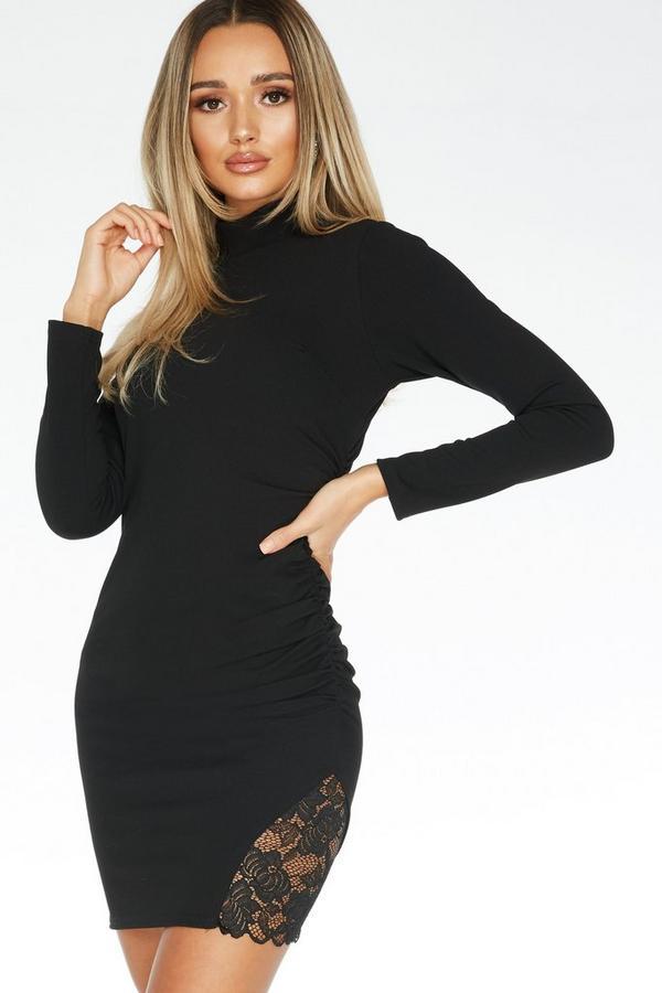Vestido Negro Ajustado con Encaje