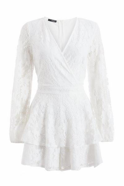 White Lace V Neck Playsuit