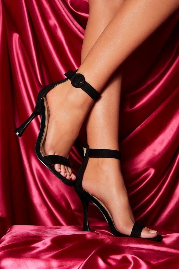 Black Flare Heeled Sandal
